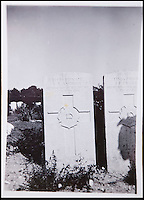 BNPS.co.uk (01202 558833)<br /> Pic: PhilYeomans/BNPS<br /> <br /> Family snap of his grave from the 1950's.<br /> <br /> Discovered in a loft - Poingnant reminder of families tragic loss during the Great War.<br /> <br /> A moving time capsule containing the last belongings of a dead soldier his family couldn't bring themselves to look at has been found in an attic after 98 years.<br /> <br /> The possessions of Private Edward Ambrose were sent home from the Western Front to his devastated parents after he was killed at the Somme.<br /> <br /> Too painful to look at, the poignant items were shut into a leather case and put into storage where they remained for almost a century.<br /> <br /> The case has now been opened by Pvt Ambrose's 82-year-old nephew who recovered it after reading about an appeal for untold stories for a local First World War exhibition.<br /> <br /> The effects include black and white photos of his loved ones, letters from his parents, his half-smoked pipe and a cigarette case with 10 roll-ups.