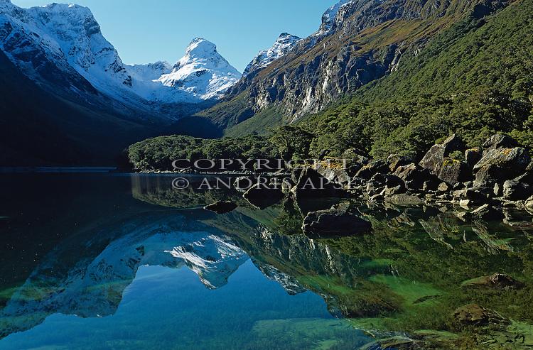Lake Mackenzie on the Routeburn Track in Fiordland National Park. New Zealand.