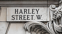 HARLEY STREET W street marking as Beast from the East weather continues at City of London, London, England on 1 March 2018. Photo by Andy Rowland.