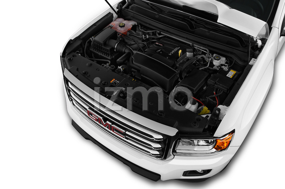 Car Stock 2016 GMC Canyon 2WD SLE Extended Cab 4 Door Pick-up Engine  high angle detail view