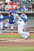Tennessee Smokies shortstop Elliot Soto (5) swings at a pitch during a game against the Chattanooga Lookouts on April 25, 2015 in Kodak, Tennessee. The Smokies defeated the Lookouts 16-10. (Tony Farlow/Four Seam Images)