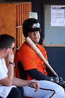Frederick Keys designated hitter Wilson Garcia (50) in the dugout during the first game of a doubleheader against the Lynchburg Hillcats on June 12, 2018 at Nymeo Field at Harry Grove Stadium in Frederick, Maryland.  Frederick defeated Lynchburg 2-1.  (Mike Janes/Four Seam Images)