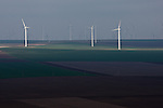 The 600mw Fantanele-Cogealac wind farm in Romania as seen from the Casian Monastery.