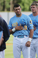Myrtle Beach Pelicans catcher Vinny DiFazio #29 standing for the national anthem before the first game of a doubleheader against the Carolina Mudcats at Tickerreturn.com Field at Pelicans Ballpark on May 10, 2012 in Myrtle Beach, South Carolina. Myrtle Beach defeated Carolina by the score of 2-1. (Robert Gurganus/Four Seam Images)