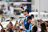 Alexander Rossi, Andretti Autosport Honda celebrates the win in victory lane on the podium