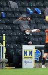 13.12.2020 Dundee Utd v Rangers: Alfredo Morelos sits in the stand after being subbed