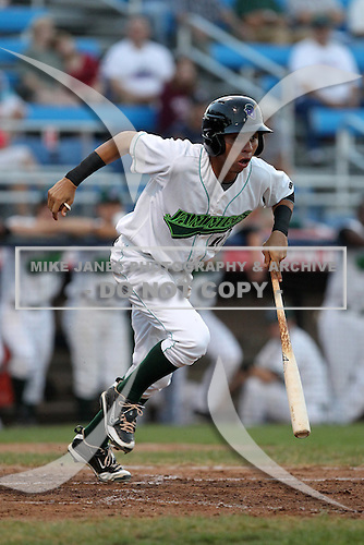 Jamestown Jammers Pedro Mendoza (12) during a game vs. the Batavia Muckdogs at Russell Diethrick Park in Jamestown, New York September 1, 2010.   Batavia defeated Jamestown 10-5.  Photo By Mike Janes/Four Seam Images