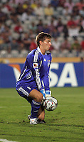Germany's Ron-Robert Zieler (1) captures a penalty kick against Brazil during the FIFA Under 20 World Cup Quarter-final match at the Cairo International Stadium in Cairo, Egypt, on October 10, 2009. Germany lost 2-1 in overtime play.