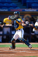Michigan Wolverines catcher Marcus Chavez (12) throw down to first base during a game against Army West Point on February 17, 2018 at Tradition Field in St. Lucie, Florida.  Army defeated Michigan 4-3.  (Mike Janes/Four Seam Images)