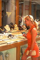 Woman Shopping for Jewelry in Santorini, Greece