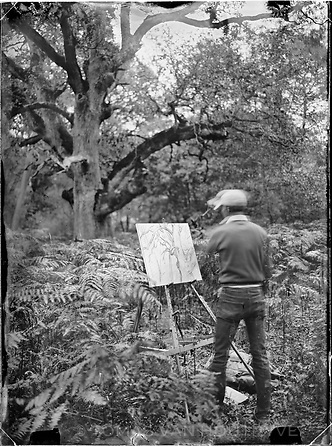 """Painter Reid Masselink begins a painting on the Chêne de Sully (Sully Oak) near Denecourt Trail number 6 (sentier Denecourt n°6, Les Gorges d'Apremont) in the Fontainebleau forest of France, near Barbizon. The oak is over 400 years old, and during the 19th century old twisted trees like this were preferred motifs of the painters from the nearby Barbizon artist colony. The artists, lead by Théodore Rousseau, protested when the old oaks were cut down and pine trees were planted. In 1861, their pleas were heard by Emperor Napoleon III, who agreed to create what some historians now consider the world's first nature reserve. Eleven years before Yellowstone National Park was founded in the United States, Napoleon III's decree preserved parts of the Fontainebleau forest for """"artistic purposes,"""" forbidding logging, quarrying and construction."""