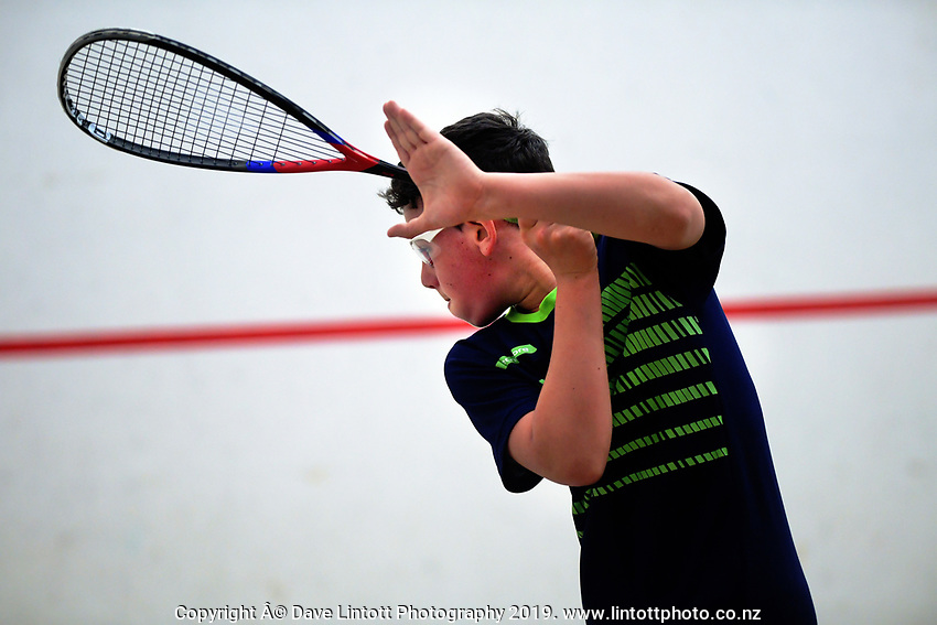 Boys' squash champion Reece Holmes. 2019 AIMS games at Blake Park in Mount Maunganui, New Zealand on Thursday, 12 September 2019. Photo: Dave Lintott / lintottphoto.co.nz