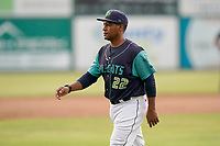 Manager Dennis Malave (22) of the Lynchburg Hillcats in a game against the Delmarva Shorebirds on Wednesday, August 11, 2021, at Bank of the James Stadium in Lynchburg, Virginia. (Tom Priddy/Four Seam Images)