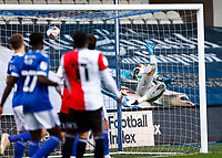 31st October 2020; The Kiyan Prince Foundation Stadium, London, England; English Football League Championship Football, Queen Park Rangers versus Cardiff City;  Goalkeeper Alex Smithies of Cardiff City dives but fails to save the goal bound shot