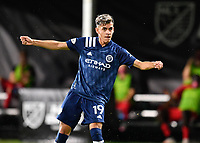 LAKE BUENA VISTA, FL - JULY 26: Jesús Medina of New York City FC watches his shot during a game between New York City FC and Toronto FC at ESPN Wide World of Sports on July 26, 2020 in Lake Buena Vista, Florida.