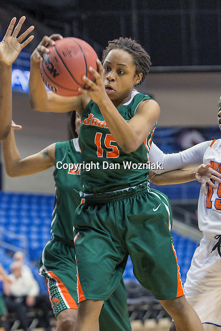 Texas Pan American Lady Broncs guard KaeLynn Boyd (15) in action during the game between the Texas Pan American Lady Broncs  and the Texas Arlington Mavericks at the College Park Center arena in Arlington, Texas. UTPA defeats UTA 59 to 57....