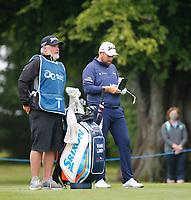 3rd July 2021; Mount Juliet Golf Club, Kilkenny, Ireland; Dubai Duty Free Irish Open Golf, Day Three; Shane Lowery of the Republic of Ireland checks his yardage on the 2nd fairway