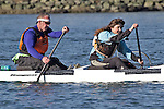 La Conner, Swinomish Channel, open water race, Sound Rowers Open Water Rowing and Paddling Club, Washington State, Pacific Northwest,  USA, Bob McBeath, Julie Whitacre, OC2