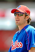 11 June 2006: Chase Utley, infielder for the Philadelphia Phillies, looks into the batting cage prior to a game against the Washington Nationals at RFK Stadium, in Washington, DC. The Nationals shut out the visiting Phillies 6-0 to take the series three games to one...Mandatory Photo Credit: Ed Wolfstein Photo..