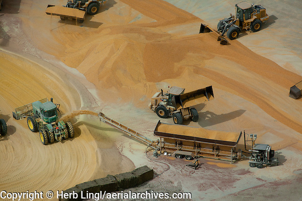 aerial photograph of corn processing for cattle feedlots in Nebraska