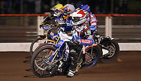 Heat 15: Piort Swiderski (red), Lewis Bridger (blue), Mads Kornelliussen (white) and Rory Schlein (yellow) - Lakeside Hammers vs Kings Lynn Stars, Elite League Speedway at the Arena Essex Raceway, Pufleet - 23/04/13 - MANDATORY CREDIT: Rob Newell/TGSPHOTO - Self billing applies where appropriate - 0845 094 6026 - contact@tgsphoto.co.uk - NO UNPAID USE.