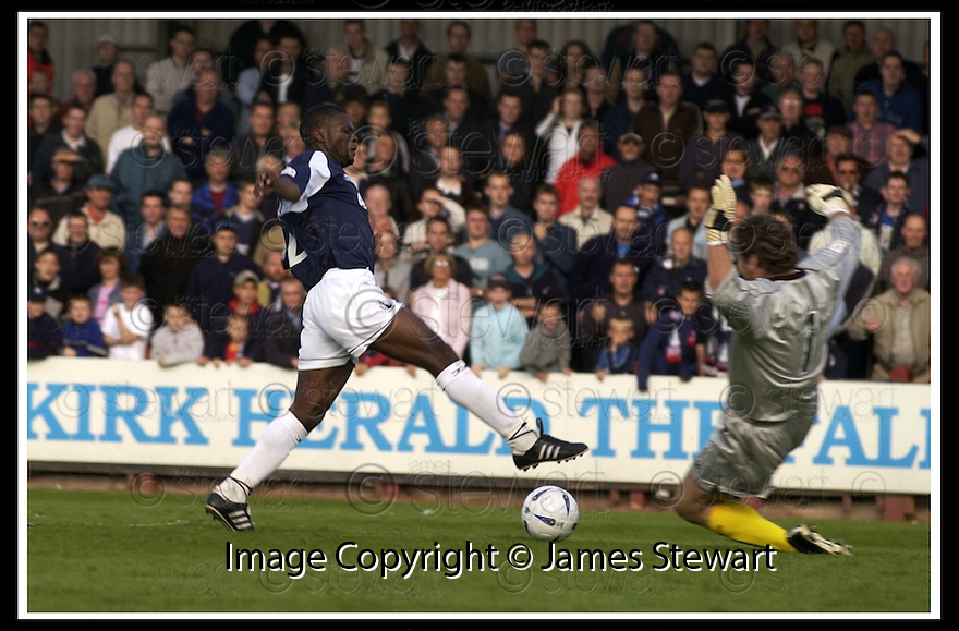 31/8/02       Collect Pic : James Stewart                     .File Name : stewart-falkirk v qots 09.ANDY GORAM BLOCKS THE SHOT FROM COLLIN SAMUEL....James Stewart Photo Agency, 19 Carronlea Drive, Falkirk. FK2 8DN      Vat Reg No. 607 6932 25.Office : +44 (0)1324 570906     .Mobile : + 44 (0)7721 416997.Fax     :  +44 (0)1324 570906.E-mail : jim@jspa.co.uk.If you require further information then contact Jim Stewart on any of the numbers above.........