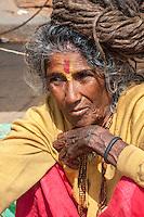 Nepal, Pashupatinath.  Female Hindu Sadhu (Ascetic).