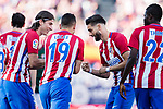 Yannick Ferreira Carrasco (R) celebrates his score with his teammates during the La Liga match between Atletico de Madrid vs Osasuna at the Estadio Vicente Calderon on 15 April 2017 in Madrid, Spain. Photo by Diego Gonzalez Souto / Power Sport Images
