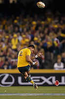 MELBOURNE, 29 JUNE 2013 - Christian LEALI'IFANO of the Wallabies kicks a penalty during the Second Test match between the Australian Wallabies and the British & Irish Lions at Etihad Stadium on 29 June 2013 in Melbourne, Australia. (Photo Sydney Low / sydlow.com)