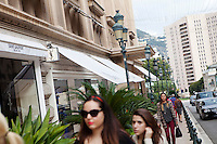Avenue des Beaux-Arts with the Sporting d'Hiver building on the left, Monaco, 18 October 2013. The Sporting d'Hiver is home to a number of high end boutiques, such as Yves Saint Laurent, Dior and Celine, as well as Monaco's only cinema, inside.