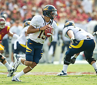 LOS ANGELES, CA - September 22, 2012:  Cal Bears quarterback Zach Maynard (15) during the USC Trojans vs the Cal Bears at the Los Angeles Memorial Coliseum in Los Angeles, CA. Final score USC 27, Cal 9.