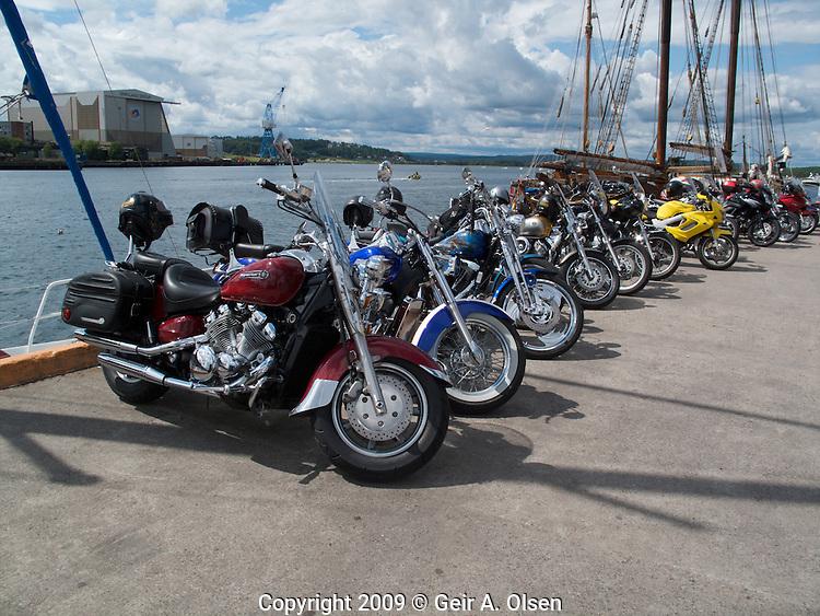 Lots of motorcycles at Tønsberg harbour