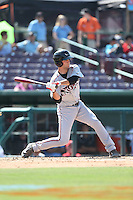 Ryan Miller (20) of the Lake Elsinore Storm bats during a game against the Inland Empire 66ers at San Manuel Stadium on May 27, 2015 in San Bernardino, California. Lake Elsinore defeated Inland Empire, 12-9. (Larry Goren/Four Seam Images)