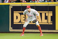 Philadelphia Phillies outfielder Hunter Pence #3 on defense during the Major League Baseball game against the Houston Astros at Minute Maid Park in Houston, Texas on September 12, 2011. Houston defeated Philadelphia 5-1.  (Andrew Woolley/Four Seam Images)