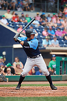 Trenton Thunder catcher Chris Rabago (26) at bat during a game against the Hartford Yard Goats on August 26, 2018 at Dunkin' Donuts Park in Hartford, Connecticut.  Trenton defeated Hartford 8-3.  (Mike Janes/Four Seam Images)