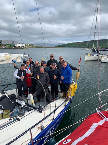 The eXcession crew celebrate their arrival in Dingle
