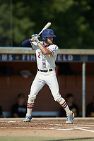 Ethan Murray (2) (Duke) of the High Point-Thomasville HiToms at bat against the Statesville Owls at Finch Field on July 19, 2020 in Thomasville, NC. The HiToms defeated the Owls 21-0. (Brian Westerholt/Four Seam Images)