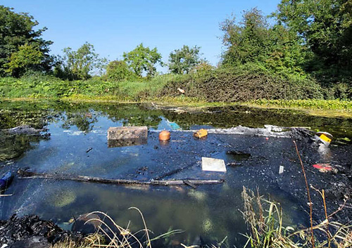 Debris from the boat explosion on the Grand Canal at Hazelhatch on Saturday 28 August