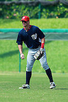 Washington Nationals minor league outfielder Bryce Harper (34) in the field during a game vs. the Chinese National Team in an Instructional League game at Holman Stadium in Vero Beach, Florida September 30, 2010.   Harper was selected in the first round, 1st overall, of the 2010 MLB Draft out of Southern Nevada Junior College.  Photo By Mike Janes/Four Seam Images
