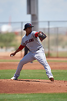 AZL Indians Red starting pitcher Juan Zapata (34) during an Arizona League game against the AZL Indians Blue on July 7, 2019 at the Cleveland Indians Spring Training Complex in Goodyear, Arizona. The AZL Indians Blue defeated the AZL Indians Red 5-4. (Zachary Lucy/Four Seam Images)