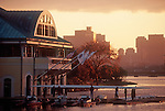 Boston, Rowing crew, sunrise, the Charles River, end of the workout at the new Boston University DeWolfe Boathouse, Cambridge, Massachusetts, New England, USA, North America,.