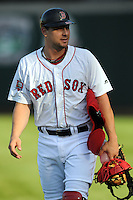 Pawtucket Red Sox catcher Ryan Lavarnway #22  prior to a game versus the Scranton/Wilkes-Barre RailRiders at McCoy Stadium on August 25, 2013 in Pawtucket, Rhode Island. (Ken Babbitt/Four Seam Images)