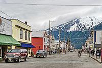 Main street shops, Skagway, Alaska, USA.