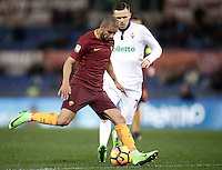 Calcio, Serie A: Roma, Stadio Olimpico, 7 febbraio 2017.<br /> Roma's Bruno Peres (l) in action with Josip Ilicic during the Italian Serie A football match between AS Roma and Fiorentina at Roma's Olympic Stadium, on February 7, 2017.<br /> UPDATE IMAGES PRESS/Isabella Bonotto