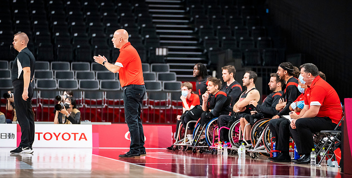 Matteo Feriani, Tokyo 2020 - Wheelchair Basketball // Basketball en fauteuil roulant.<br /> Canada takes on Japan in a men's preliminary game // Le Canada affronte le Japon dans un match préliminaire masculin. 28/08/2021.