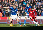 St Johnstone v Rangers…..23.02.20   McDiarmid Park   SPFL<br />Ali McCann gets the better of Ryan Kent<br />Picture by Graeme Hart.<br />Copyright Perthshire Picture Agency<br />Tel: 01738 623350  Mobile: 07990 594431