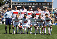 April 11, 2009: Fire teammates before the game against the Fire at Buck Shaw Stadium in Santa Clara, California. San Jose Earthquakes and Chicago Fire tied, 3-3