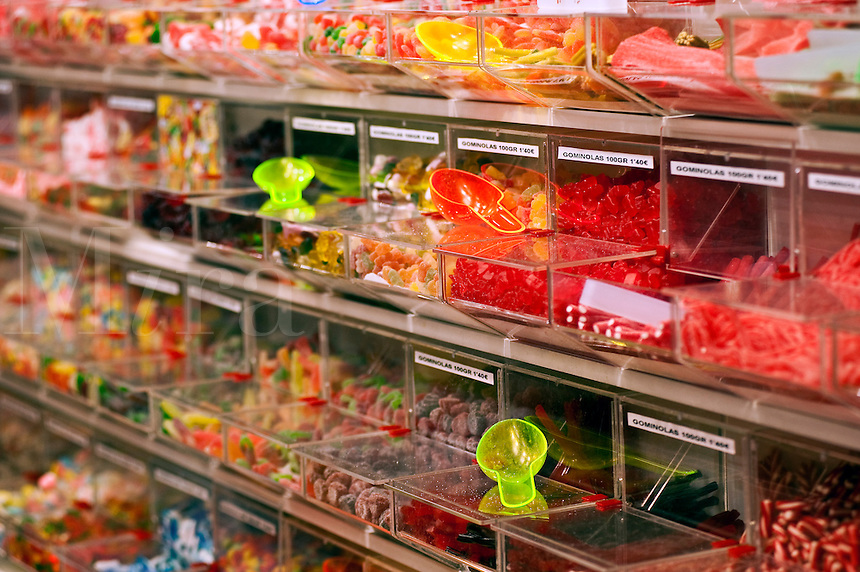 Bins of candy in a store, Madrid, Spain