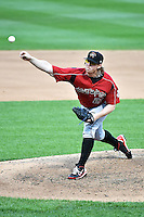 Albuquerque Isotopes starting pitcher Red Patterson (25)  delivers a pitch to the plate against the Salt Lake Bees at Smith's Ballpark on May 21, 2014 in Salt Lake City, Utah.  (Stephen Smith/Four Seam Images)