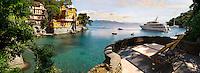 Portofino . fashionable seaside fishing village for the wealthy .  Ligurian Coast. Italy